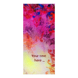ABSTRACT GOLD SWIRLS , red pink purple yellow Rack Card
