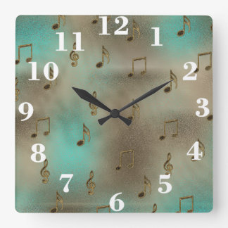 Abstract Gold & Teal Musical Notes Pattern Square Wall Clock