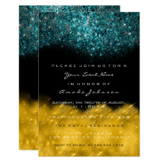 Abstract Gold Teal Ocean Glitter Black White Event Card