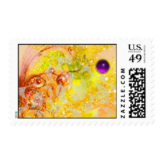 ABSTRACT GOLD YELLOW WAVES,SPARKLES AND PURPLE GEM POSTAGE