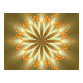 Abstract golden and silver flower for Christmas Postcard