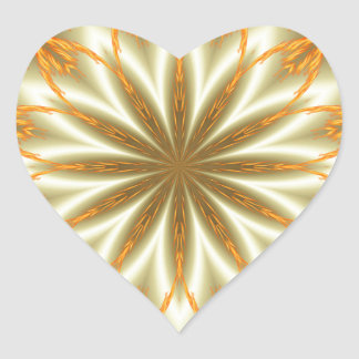 Abstract golden and silver flower for Christmas Heart Sticker