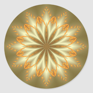 Abstract golden and silver flower for Christmas Classic Round Sticker