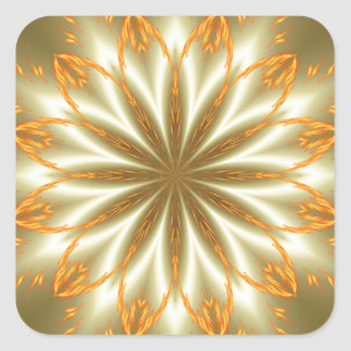 Abstract golden and silver flower for Christmas Square Sticker