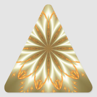 Abstract golden and silver flower for Christmas Triangle Sticker