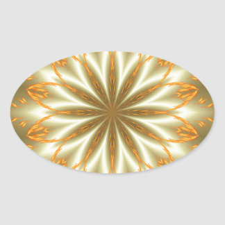 Abstract golden and silver flower for Christmas Oval Sticker