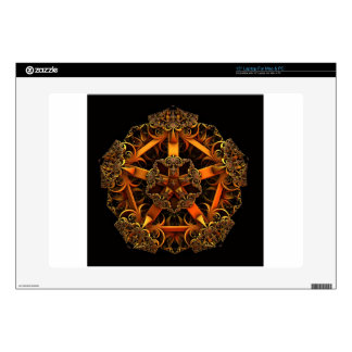 "ABSTRACT GOLDEN FILIGREE 15"" LAPTOP DECAL"