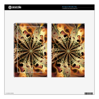 Abstract golden flower like a snowflake kindle fire decals