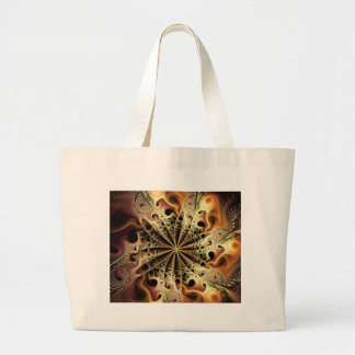 Abstract golden flower like a snowflake large tote bag
