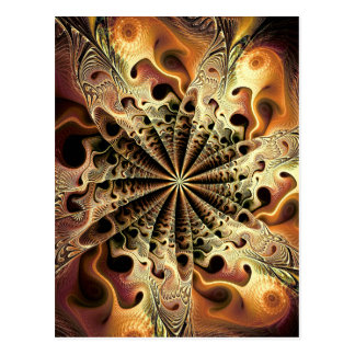 Abstract golden flower like a snowflake postcard