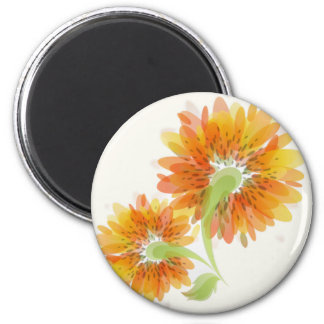 Abstract Golden Flowers Magnet