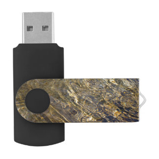 Abstract Golden Fountain Water Swivel USB 2.0 Flash Drive