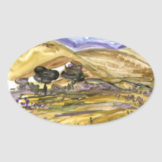 Abstract Golden Grass Landscape Art Stickers