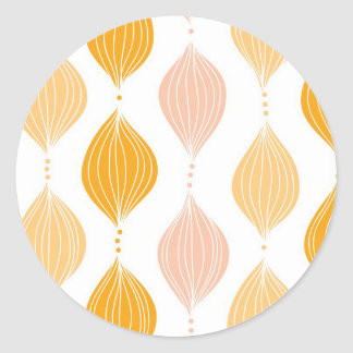 Abstract golden ogee pattern background classic round sticker