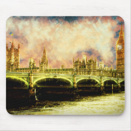 Abstract Golden Westminster Bridge in London Mouse Pad
