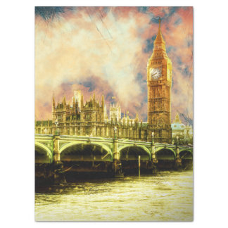 Abstract Golden Westminster Bridge in London Tissue Paper