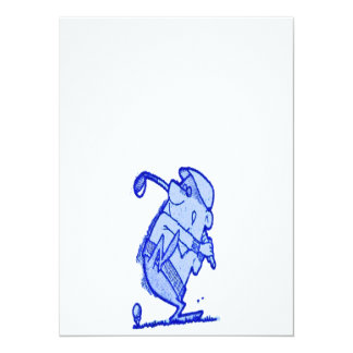 abstract golfer 5.5x7.5 paper invitation card