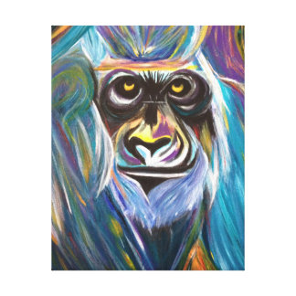 Abstract Gorilla in vivid colours Canvas Print