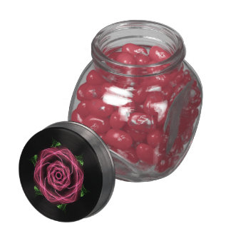 Abstract Goth Rose Fractal Glass Jar