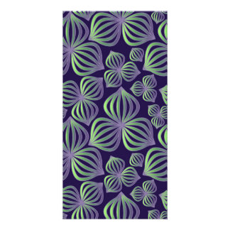 Abstract gradient purple green floral pattern. card
