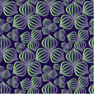 Abstract gradient purple green floral pattern. standing photo sculpture