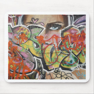 abstract graffiti art mural text type womans face mouse pad