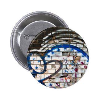 Abstract Graffiti Brick Wall Blue, Red and White 2 Inch Round Button