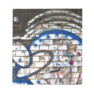 Abstract Graffiti Brick Wall Blue, Red and White Memo Note Pad
