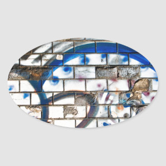 Abstract Graffiti Brick Wall Blue, Red and White Oval Sticker