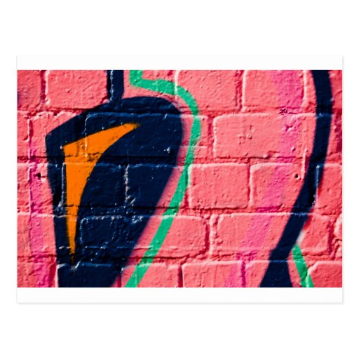 Abstract Graffiti detail on the textured wall Post Card