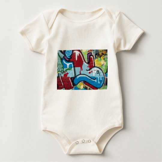 Abstract Graffiti on the textured Brick Wall Baby Bodysuit