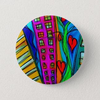 Abstract Graffiti Rainbow - City and Hearts Button