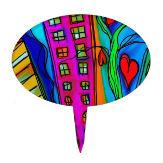 Abstract Graffiti Rainbow - City and Hearts Cake Topper