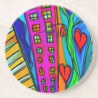 Abstract Graffiti Rainbow - City and Hearts Coaster
