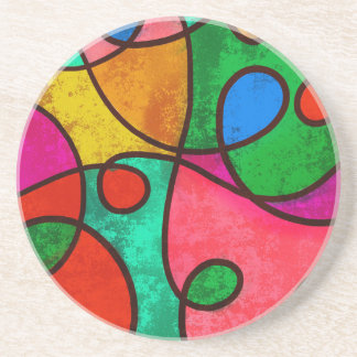 Abstract Graffiti Rainbow Swirls Coaster