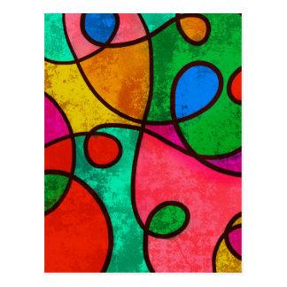 Abstract Graffiti Rainbow Swirls Postcard