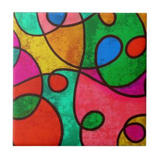 Abstract Graffiti Rainbow Swirls Tile