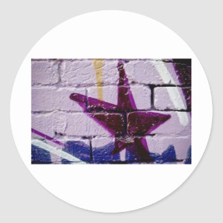 Abstract Graffiti Star on the textured wall Classic Round Sticker