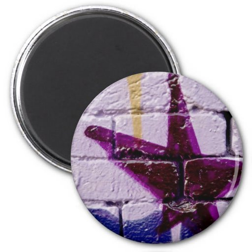Abstract Graffiti Star on the textured wall 2 Inch Round Magnet