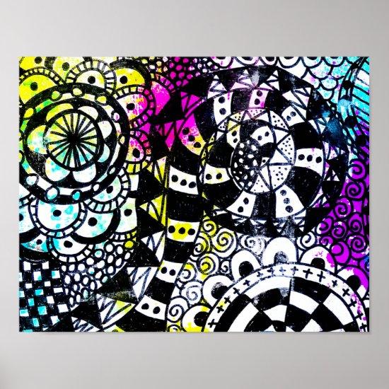Abstract Graffiti Zen Doodle Black White Retro 80s Poster