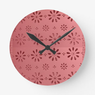 Abstract Graphic Flowers Floral Template add TEXT Round Clock