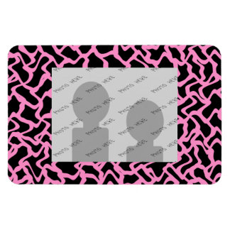 Abstract Graphic Pattern Black and Bright Pink. Rectangular Photo Magnet