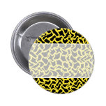 Abstract Graphic Pattern Black and Bright Yellow. Pinback Buttons