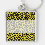 Abstract Graphic Pattern Black and Bright Yellow. Keychain