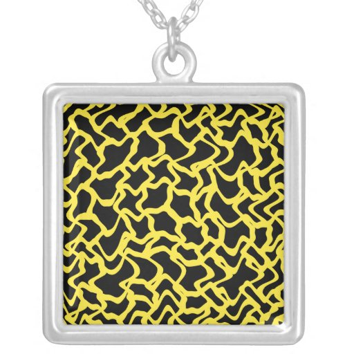 Abstract Graphic Pattern Black and Bright Yellow. Custom Jewelry