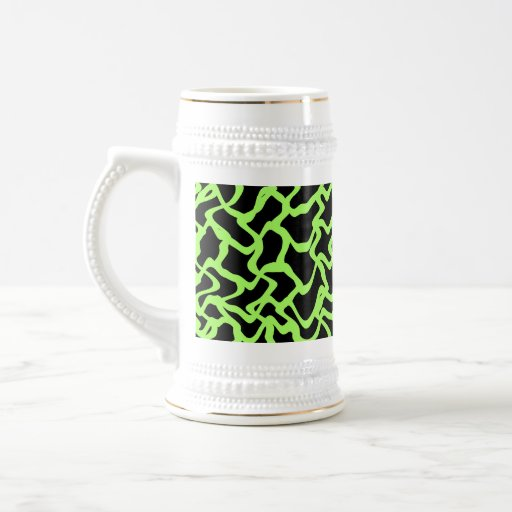 Abstract Graphic Pattern Black and Lime Green. Beer Stein