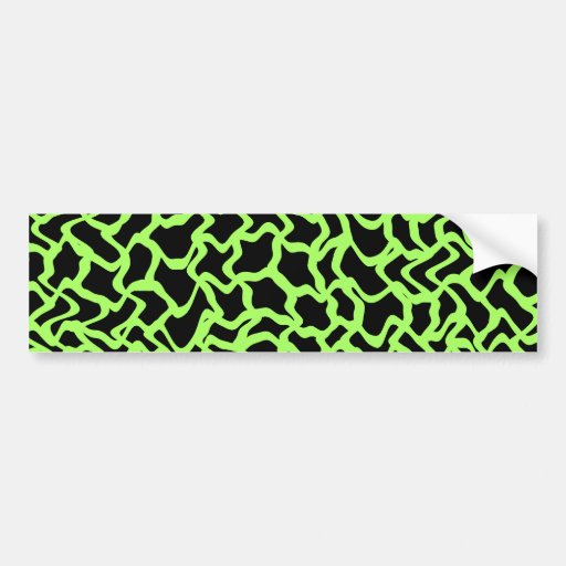 Abstract Graphic Pattern Black and Lime Green. Bumper Sticker