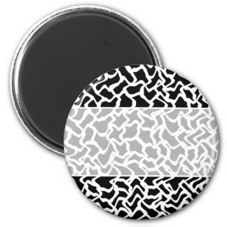 Abstract Graphic Pattern Black and White. 2 Inch Round Magnet