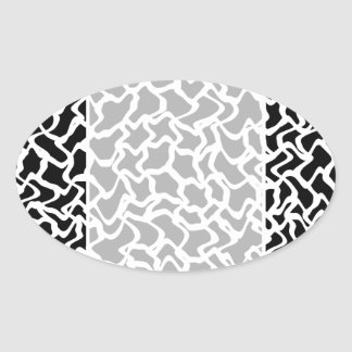 Abstract Graphic Pattern Black and White. Oval Sticker