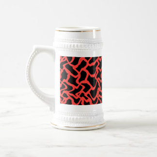 Abstract Graphic Pattern Bright Red and Black. Beer Stein